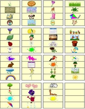 Spring Word Wall/Pocket Chart Cards With Pictures