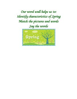Spring Word Wall Title and Learning Goal