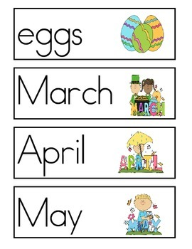 Spring Word Wall Vocabulary Cards