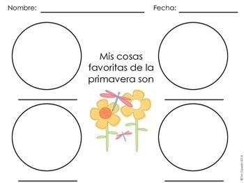 Spring Word Wall Vocabulary Words, Exercises, Writing Prompts 100% in Spanish