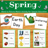 Spring Activity Word to Picture Match for Special Education and ESL