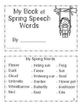 Spring Words Book - To Color