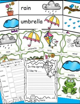 Spring Words Math and Literacy Spring Activities Bundle