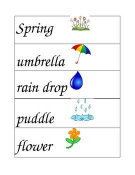 Spring Words for Writing Station