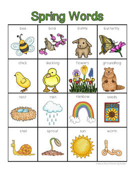 Spring Words for writing center and write-the-room