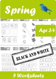 Spring Worksheets Age 3-4 Black and White