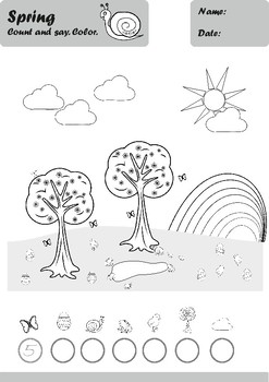 Spring Worksheets Age 4-5 Black and White
