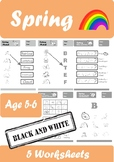 Spring Worksheets Age 5-6 Black and White