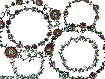Spring Wreaths Digital Clip Art FREEBIE