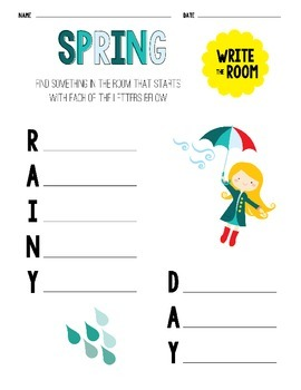 Spring Write The Room Activity Sheets