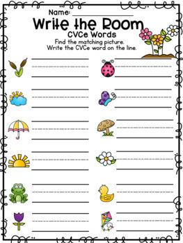 Spring Write the Room CVCe Words