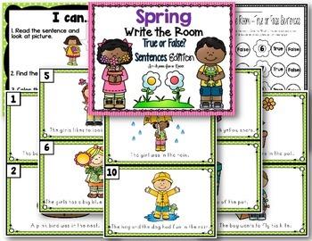 Spring Write the Room - True or False Sentences Edition
