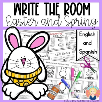 Easter Write the Room in English and Spanish for K-1 {April Edition}