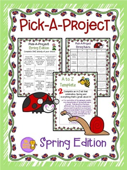 Spring Pick A Project Writing Activities, Choice Boards, Rubric