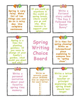 Spring Writing Choice Board