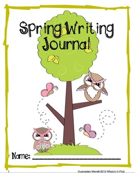FREEBIE in PREVIEW-  Spring Writing Journal Covers:  Color & Black/White
