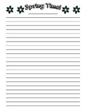 Spring Writing Lined Paper - Spring Time Title