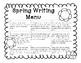 Spring Writing Menu
