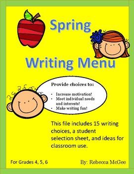 Spring Writing Menu Activities