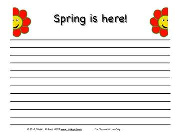 Spring Writing Paper: Regular Lined (Landscape & Portrait)