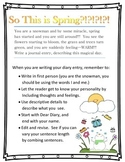 Spring Writing Prompt- Snowman in Spring