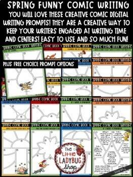 Creative Writing Comic Digital Spring Writing Prompts 4th Grade Google Slides
