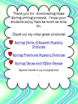 Spring Writing Prompts Freebie
