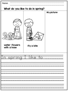 Spring Writing Prompts for Kindergarten and 1st Grade