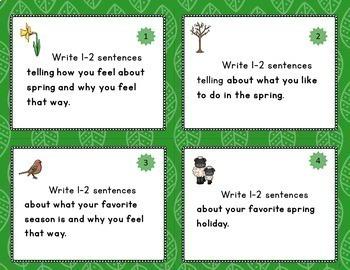 Spring Writing Task Cards: Grades 1-2