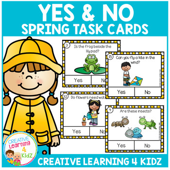 Yes & No Spring Picture Question Task Cards