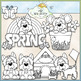 Spring Yorkies - CU Clip Art & B&W Set