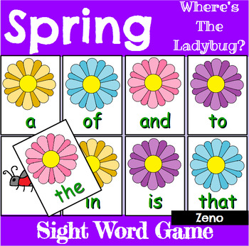 Spring Zeno High Frequency Word Recognition Center or Whole Group Game