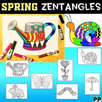 Spring Zentangles, No Prep Coloring Pages by Pooley ...