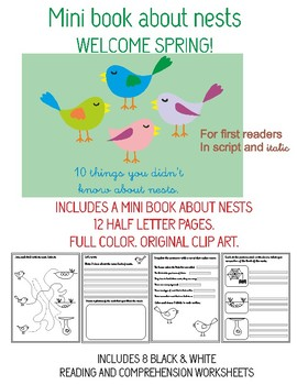 MINI BOOK ABOUT NESTS AND WORKSHEETS