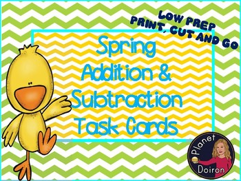 Spring addition and subtraction math task cards