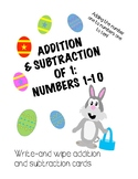Spring and Easter Add and Subtract 1 Cards