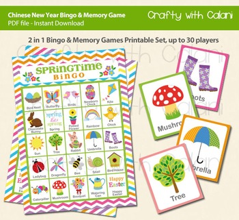 picture relating to Spring Bingo Game Printable named Spring and Easter Bingo Memory Recreation, Easter Printable Bingo Memory