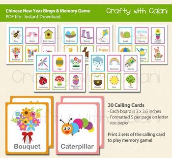 Spring and Easter Bingo & Memory Game, Easter Printable Bingo & Memory