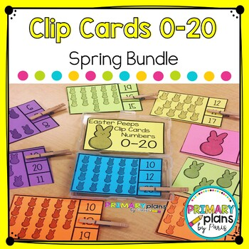Spring and Easter Clip Cards Numbers 0-20 Bundle