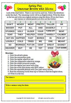 Spring and Easter Fun: Grammar Review with Idioms and Vocabulary