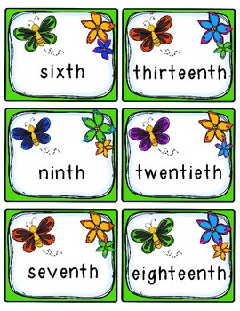 Ordinal Numbers Games - 40 Sets of Task Cards!