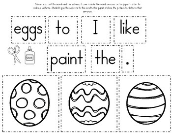 Spring and Easter Sentence Builders Literacy Center