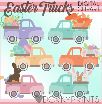 Spring and Easter Vintage Truck Clipart