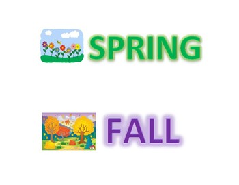 Spring and Fall vocabulary and item sorting activity