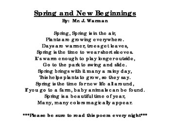 Spring and New Beginnings Poem