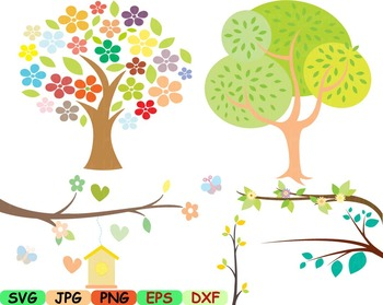 Spring and Summer Clip art svg Branch wall easter love flower trees Birds -91s