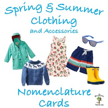 Spring and Summer Clothing 3 Part Nomenclature Cards with Real Pictures