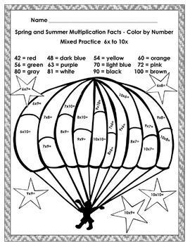 Spring and Summer Color by Multiplication Facts 18 student pages with charts
