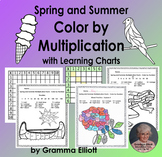 Summer Color by Multiplication Facts with charts NO PREP