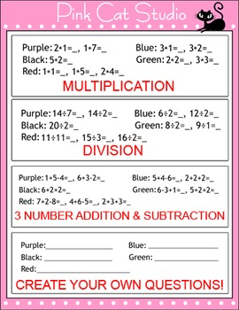 Addition and Subtraction Spring Math Facts Color by Number - Spring Activities